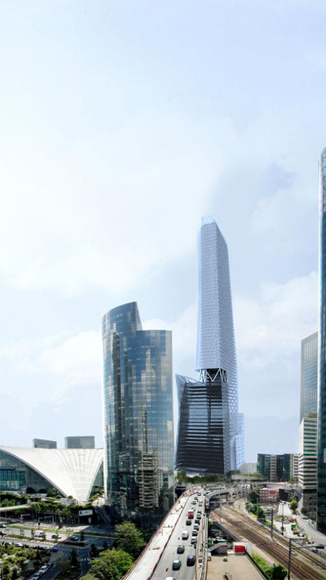 Phare Tower test Rendering, Design by Morphosis